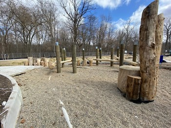 Natural play space being constructed at Ken-O-Sha Park, using recycled fallen trees.
