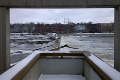 view of dam from fish ladder