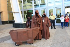 A family of 2016 GR Comic-Con attendees cosplay a band of Jawas, from Star Wars