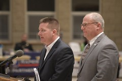 Adam Doubblestein and James Redford answer questions about the  proposed building of a new Veterans Facility