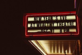 Wealthy Theatre's marquee promoting the theatre's New Year's Eve 2017 concert.
