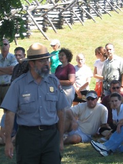 Park Ranger Mannie Gentile roams the Antietam Battlefield in Maryland leading tours and demonstrating artillery
