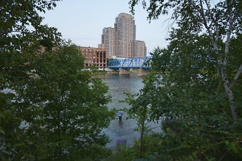 The Grand River in downtown Grand Rapids, looking southeast.