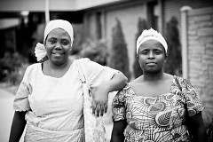 Two Burundian refugee women outside of English class at Grand Rapids International Fellowship.