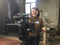 Mariah Cowsert, AmeriCorps VISTA at Dwelling Place, getting behind the camera during the workshop
