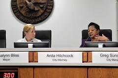 Mayor Rosalynn Bliss listens to City Attorney, Anita Hitchcock