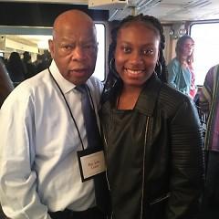 Aliya Hall with activist Rep. John Lewis.