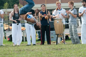 A Capoeira troupe performs some traditional moves from the Brazilian dance/fight art form.