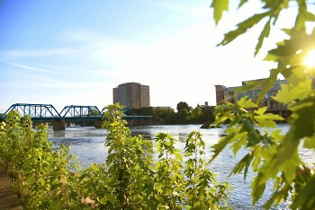 The Grand River in downtown Grand Rapids, facing southwest.