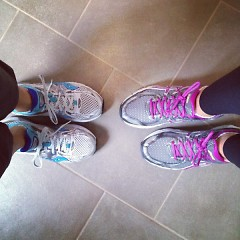 Doublstein and friend Sarah's shoes before a long run while training for the 2013 Fifth Third River Bank 25K