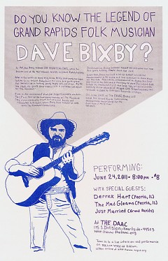 Poster for Dave Bixby's performance at The DAAC this Friday