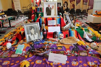 Altar honoring Carlos Tenorio; used by Grand Rapids Public Library to showcase Day of the Dead altars.