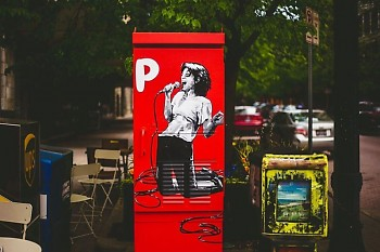 """P is for Patti Smith"" painting – part of the Rad American Women public art project – in downtown Grand Rapids."