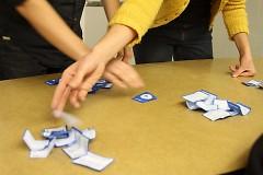 Sunday Soup organizers Megan McClish and Teresa Zbiciak count ballots