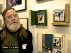 "Tom Duimstra, curator of ""Camera and Collage"" with his artwork"