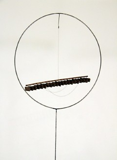 Breathing Instruments, by Alison O'Daniel, made of steel, chain, shutter, wood, and paint