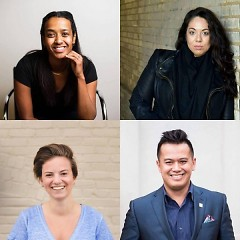 Clockwise from top Nardos Osterhart, Vanessa Jimenez, Ace Marasigan and Brittany Devon will tell stories at our upcoming event.