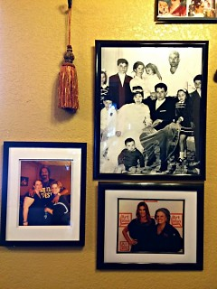Photos of family and celebrities in the restaurant