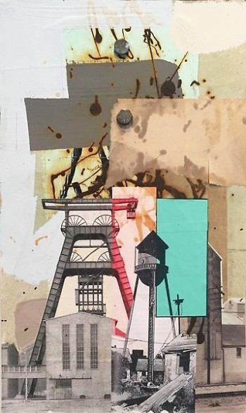 "Steven Vinson. ""Fruit of Labor."" Collage on drywall. 8 1/2"" x 14 1/4."" 2017."