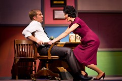 "Rose Alvarez (Aimee Hampton Workman) singing ""An English Teacher,"" while leaning against Albert Peterson (Matt Dixon)"
