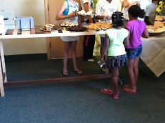Kids purchase baked goods from other kids at Breaktime Bakery.