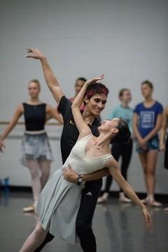 "Josue Justiz and Yuka Oba rehearsing George Balanchine's ""Allegro Brillante""."