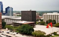 Aerial view of Calder Plaza