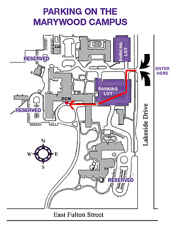 Map for DCM parking and entry.
