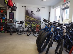 Fat bikes are featured prominently in the new bike store location, with a full line of Kona brand.