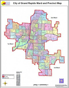 Ward and precinct map of the city of Grand Rapids
