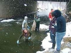 Students collecting data from underneath the 28th Street bridge during a late winter snowstorm. Rain events and snowmelt cause t