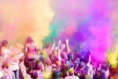 A big celebration takes place after The Color Run with music, food and more color.