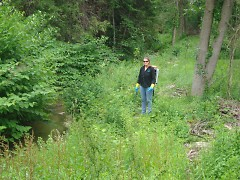 Becky Huttenga, of the Ottawa Conservation District – a Stewardship Network member group – is pictured spraying invasive species