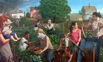 """The mural """"Community Garden"""" by Ed Wong Ligda in our lobby illustrates a vision for an inclusive community"""