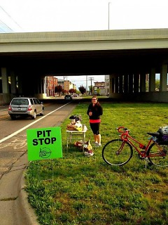 Danielle Ostafinski set up one of the Pit Stops for cyclists taking part in last year's Active Commute week.