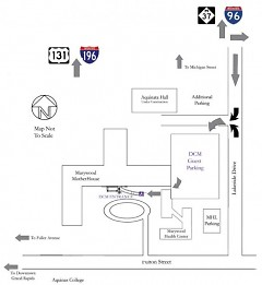 Map to free DCM parking lot.