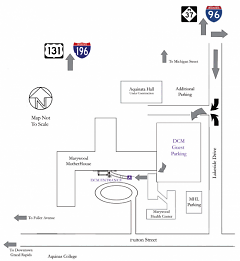 Map to free Dominican Center parking.