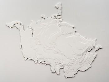 """Maya Lin, The Deglaciation of the Laurentide, 2018. Paperboard, encaustic, aluminum 55-1/4 × 71 × 1"""" (140.3 × 180.3 × 2.5 cm)"""