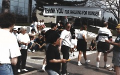 A banner thanking participants as they finish the Walk is displayed outside the Gerald R. Ford museum.
