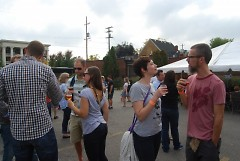 Attendees of Wood-Aged Beer Festival socialize
