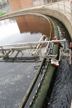 A final clarifier is used during secondary treatment where microorganisms settle to the bottom while clean water moves up.