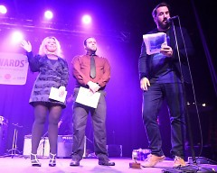 Kelly Koning-Ramic, Shaun Koning and Quinn Mathews at The Jammies
