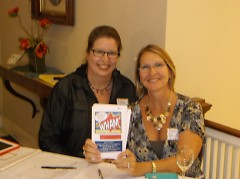 Wham greeters at the entrance of event...Deb Bruker (Board Member) and Maria Zache (Office Staff Member)