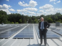 Mayor George Heartwell getting a first glimpse of the solar panels.