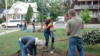 Friends of Grand Rapids Parks planting trees at a local elementary school.