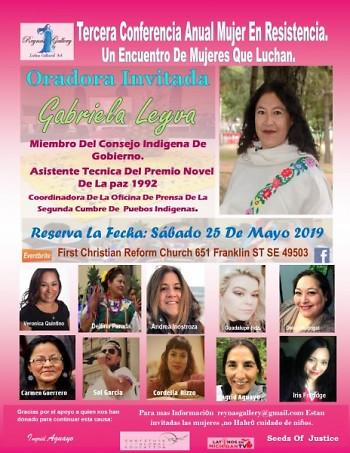 Zoquitecas estarán abriendo la próxima conferencia Mujer En resistencia 2019 Mayo 25,2019 reserva la fecha,