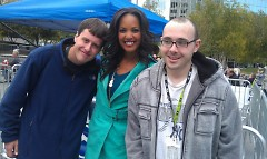 Mike Berdo and Ryan Chichester enjoy a photo celebrity encounter with Jordan Carson of Wood TV