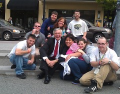 Pictured (L to R, Front to Back) Sam, Shawn , Mayor Heartwell, Marisol , Sarah , Ryan (Back) Mike, Anna and Mike. What a memory!