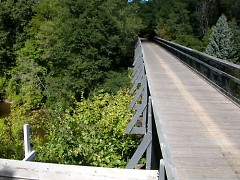 The Musketawa Trail runs for 25 miles between Marne and Muskegon and features 13 wooden trestle bridges.