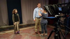 Zoey Neistat and Michael Staal getting prepped by GRTV staff for their PSA.
